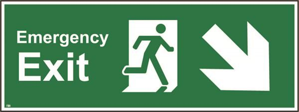 400mm x 150mm Emergency exit down right