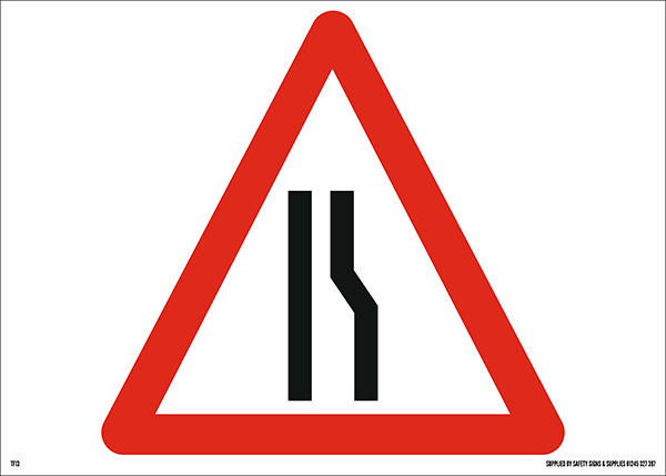 Road Narrows Offside Triangular Metal Road Sign Plate - 600mm