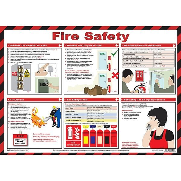Fire Safety Poster Laminated Poster 590mm x 420mm