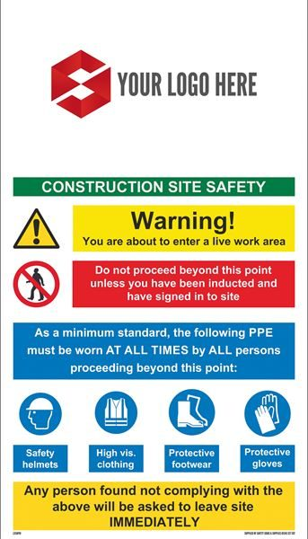 2100mm x 1200mm Site Safety Sign
