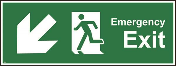 400mm x 150mm Emergency exit down left