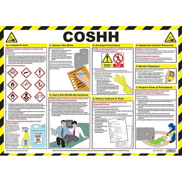 COSHH (Control of Substances Hazardous to Health) Poster Laminated Poster 590mm x 420mm